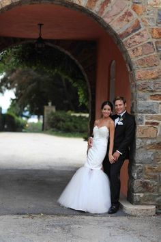 Getting a full length shot of the bride and groom is a must!  Photo by Katy Trefry Photography Pinned from www.dreamweddingspa.com