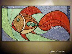 Original pescado arte grande textura pintura abstracto