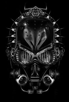 #C3PO #helmet - Black and white illustration from digital artist Obery Nicolas. #starwars