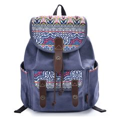 women floral print casual canvas backpack