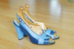vintage 1940s shoes / 40s blue leather peep by honeytalkvintage, $180.00