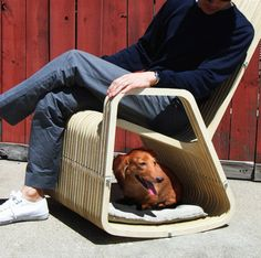 The rocking-2-gether chair (patent pending) is a hybrid between a rocking chair and dog/cat house where you can rock while your pet hangs out with you.
