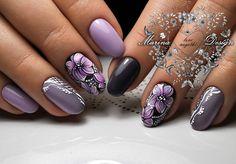 Фотографии Marina Design Nail Ink, Art Deco Nails, Violet Nails, Purple Nail Art, Diy Nail Designs, Flower Nail Art, Stylish Nails, Nagel Gel, Beautiful Nail Art