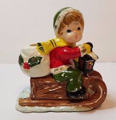 Vtg Xmas Holiday Decoration Ornament Figurine Ceramic Candle Holder Boy Sled 5""