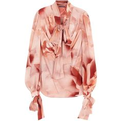 Womens Blouses Alexander McQueen Rose-print Silk Crepe Blouse (£1,015) ❤ liked on Polyvore featuring tops, blouses, red tie neck blouse, red top, alexander mcqueen tops, bow neck blouse and tie neck blouse