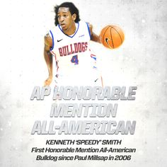 Louisiana Tech point guard Kenneth Smith was named an honorable mention pick on The Associated Press' All-American team.  This latest award for Speedy adds to the long list of others he has received for his senior season, including Conference USA Player of the Year, while leading LA Tech to a 27-win season, a third straight conference regular season title and a third straight postseason appearance.