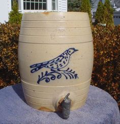 Edmands, Charlestown, Stoneware Water Cooler with Bird