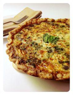 Spinach, Mushroom, Goat Cheese Quiche recipe. Mmmm...