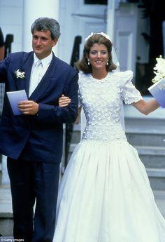Caroline Kennedy donned a silk organza ballgown designed by Carolina Herrera when she and Edwin Schlossberg tied the knot near Hyannis Port, Massachusetts in 1986