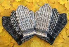 I like the cuffs on these Knitted Mittens Pattern, Knit Mittens, Mitten Gloves, Knitting Socks, Knitted Hats, Norwegian Knitting, Fingerless Mittens, Wrist Warmers, Fair Isle Knitting