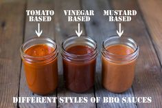 Different Styles of BBQ Sauces and Recipes for Three Styles -- vinegar based, mustard based, and tomato based.