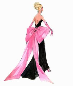 "(¯`'•.ೋ…  Barbie Illustration  ...............................by Robert Best.  Print ""Big Pink Bow"""