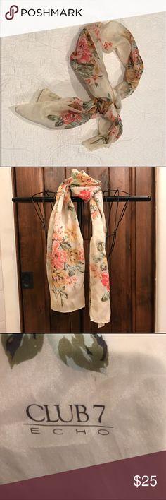 Club 7 Silk Scarf 100% Silk Floral Club7 Echo Scarf Club 7 Accessories Scarves & Wraps