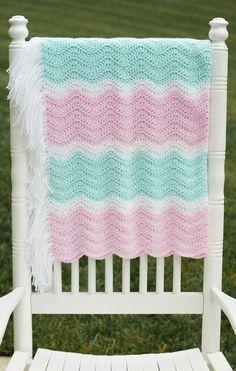 Cotton Candy Crochet Chevron Baby Blanket on Etsy, $75.00