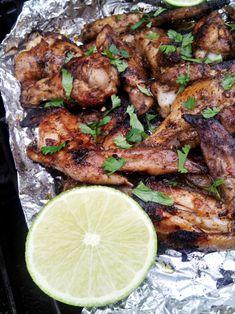 Jerk Chicken Wings Grilled in A Foil Packet