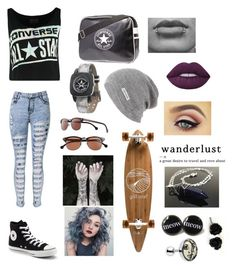 """Converse"" by kat235 ❤ liked on Polyvore featuring Converse, GoldCoast, Nature Girl, Lime Crime and Mason's"