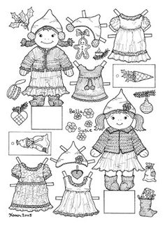 Karen`s Paper Dolls: Bella and Susie Christmas Cut-outs to Print and Colour. Bella og Susie Jule klippeark til at printe og farvelægge.