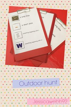Outdoor hunt with an initial sounds phonics focus. EYFS