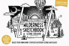 Sketch Drawing Wilderness-Sketchbook-Scene-Creator-cover - Create your own hand-stippled outdoor scenes in minutes! What is The Wilderness Scene Creator? A collection of intricately drawn fine liner illus Photoshop Cs5, Photoshop Illustrator, Scene Creator, The Creator, Affinity Photo, Star Constellations, Affinity Designer, Stippling, Graphic Illustration