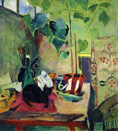 Oskar Moll (German, 1875-1947). Cat with House Plant. 1924.