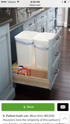 Trash drawer with room for box of bags