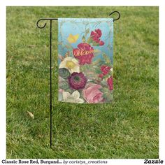 Classic Rose Red, Burgandy, Yellow Personalize Garden Flag Dry Garden, Granny Flat, Cottage Living, Garden Flags, Red Roses, Patio, Seasons, Yellow, Beach