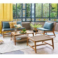 Salons et meubles de balcon: notre shopping malin - Marie Claire Style Tropical, Motif Tropical, Outdoor Sofa, Outdoor Decor, Acacia, Sofa Design, Home Furniture, Outdoor Furniture Sets, Teak