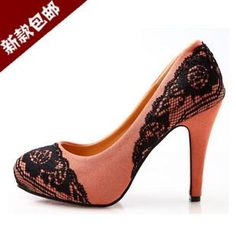 burnt coral heels with black lace trim