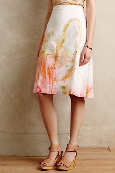 """Painter's Palette Skirt $70 #anthropologie Quebec artist Claire Desjardins is best known for her use of vibrant colors inspired by graffiti, street art and Abstract Expressionism.  Structured, woven cotton-lycra A-line silhouette, Side zip, Machine wash, Reg 25.5"""" L"""