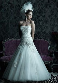 Unique Floor Length Tulle Scoop Fit N Flare Dropped Waist Wedding Dress - 1300103565B - US$279.99 - BellasDress