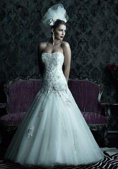 Unique Floor Length Tulle Scoop Fit N Flare Dropped Waist Wedding Dress - 1300103565B - US$279.99 - BellasDress