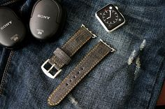 Jean Denim Leather Strap band incl. Lugs Adapter for Apple Watch (Steel,Alu,Space Gray) 42mm or 38mm incl Buckle