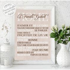 Tableau Règles de la maison romantique personnalisé