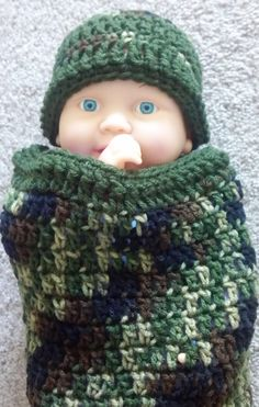 Crochet Hat and Cocoon Military Soldier Camo Photo Prop by ExpertCraftss