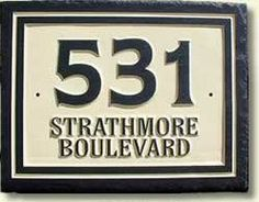rectangular house number sign