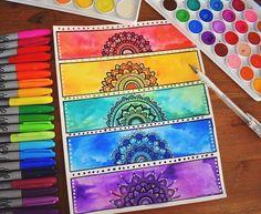 me watercolor mandala, mandala drawing, zentangle art ideas Watercolor Mandala, Mandala Drawing, Watercolor Art, Mandala Artwork, Arte Sharpie, Creative Bookmarks, Diy Bookmarks, Bookmark Craft, Posca Art