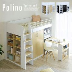 Space Saving Furniture for small spaces Loft Bunk Beds, Bunk Beds With Stairs, Kids Bunk Beds, Room Ideas Bedroom, Small Room Bedroom, Bedroom Decor, Loft Spaces, Small Spaces, Loft Beds For Small Rooms