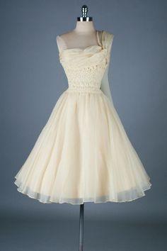 Vintage 1950's One Shoulder Organza Wedding Dress