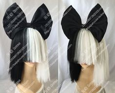 Cosplay Wig Sia Was A Black And White Double Bobo Short Hair Bow