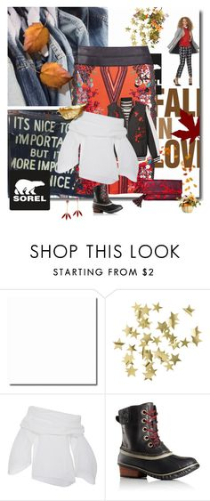 """""""Kick Up the Leaves (Stylishly) With SOREL: CONTEST ENTRY"""" by peeweevaaz ❤ liked on Polyvore featuring H&M, SOREL, Lela Rose and sorelstyle"""