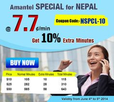 Amantel Special for #Nepal. Now #Call @ 7.7 cent/min. Use Coupon Code - {NSPCL-10} & Get 10% Extra Minutes.