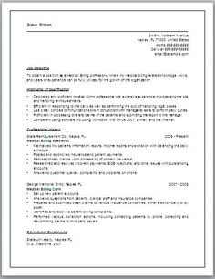 Preparing Medical Billing Resume Sample Resumes TrendResume Resume Styles  And Resume Templates Department Manager Resume