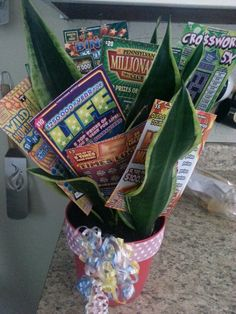 Lottery ticket raffle basket