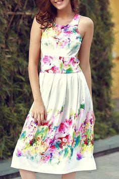 Sleeveless Floral Print Cutout Sundress WHITE: Summer Dresses | ZAFUL