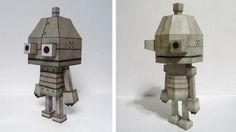 Machinarium - Little Robot Paper Model In Two Versions - by Ceemdee - == -  North American designer Ceemdee created two paper models of the cute little Robot from Machinarium online game. You can choose between a more simple or a more detailed model, both occupying one sheet of paper each one.