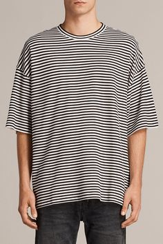 10b9d417838e8 AllSaints New Arrivals  Torny Stripe Crew Sweatshirt. This sweater has been  specially bonded to