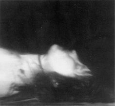 The dead body of Ulrike Meinhof, after she hung herself out of her prison cell window using bed sheets.