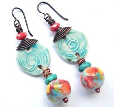 I'm so happy these are going to their new home. A gift! Love that! -- RESERVED RESERVED Colorful Bohemian Earrings, Earthy Beachy Ceramic Jewelry, Turquoise White Disks Multicolor Beads, Fun Boho Jewelry