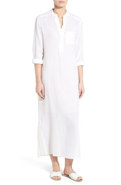 James Perse Split Neck Cotton Henley Maxi Dress available at #Nordstrom