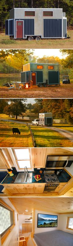 The Blue Belle is a 200-square-foot tiny house from Bear's Tiny Homes featuring an industrial style exterior with its corrugated metal siding.